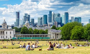 London's Greenwich Park with Canary Wharf in the distance, June 2020.