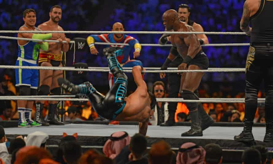 Bobby Lashley takes on Mustafa Ali at the WWE Crown Jewel in Riyadh in October 2019.