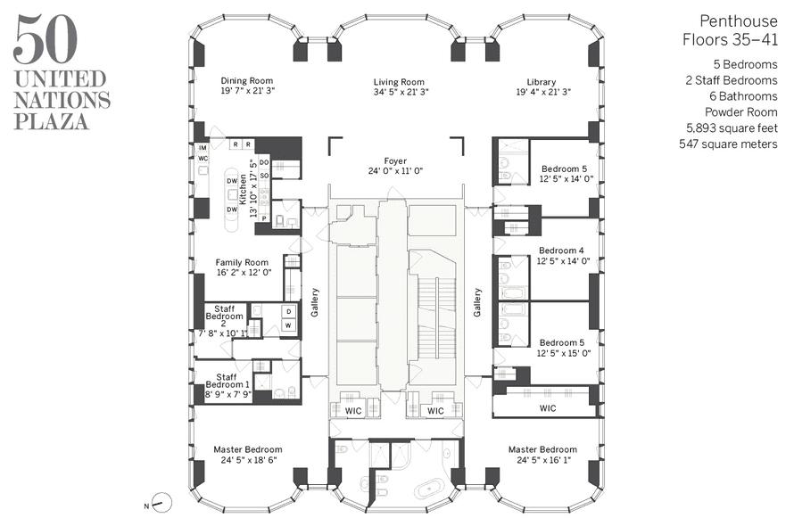 50 United Nations Plaza floor plan