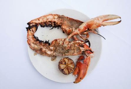 Lockdown lobster, rosemary, nduja, at Flora restaurant, London.
