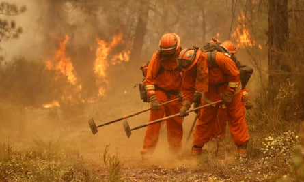 A California department of corrections work crew builds a containment line ahead of flames from a fire near Sheep Ranch, California, in 2015.