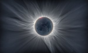 The Sun's atmosphere is visible in the eclipse image.