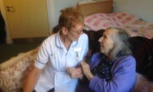 Julia Jones's mother, June, with one of her carers.