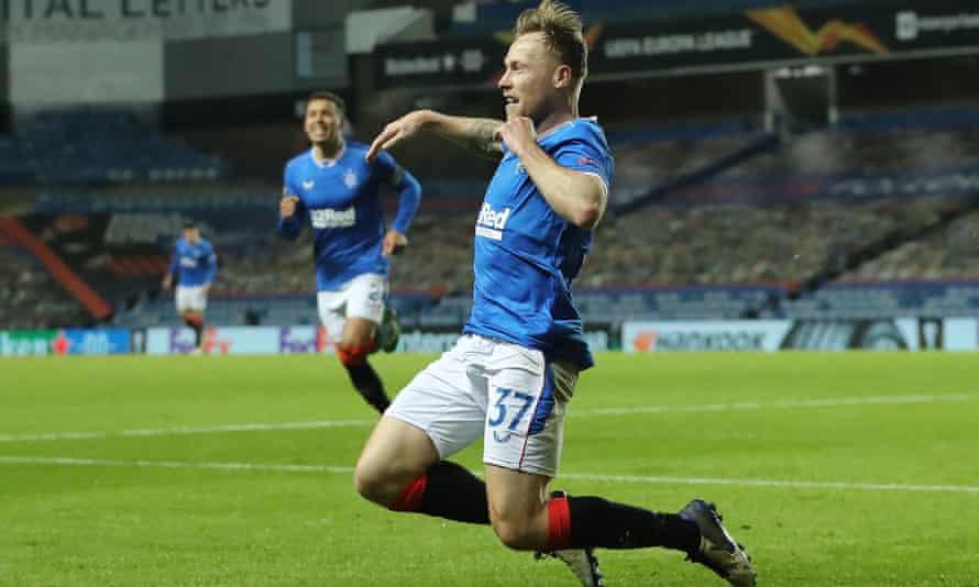 Rangers' Scott Arfield celebrates scoring what proved to be the winner against Standard Liège.