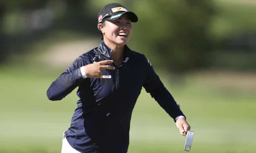 Yuka Saso celebrates her victory after the final round of the US Women's Open
