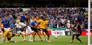 Everton's Richarlison scores their first during the 2-2 draw.