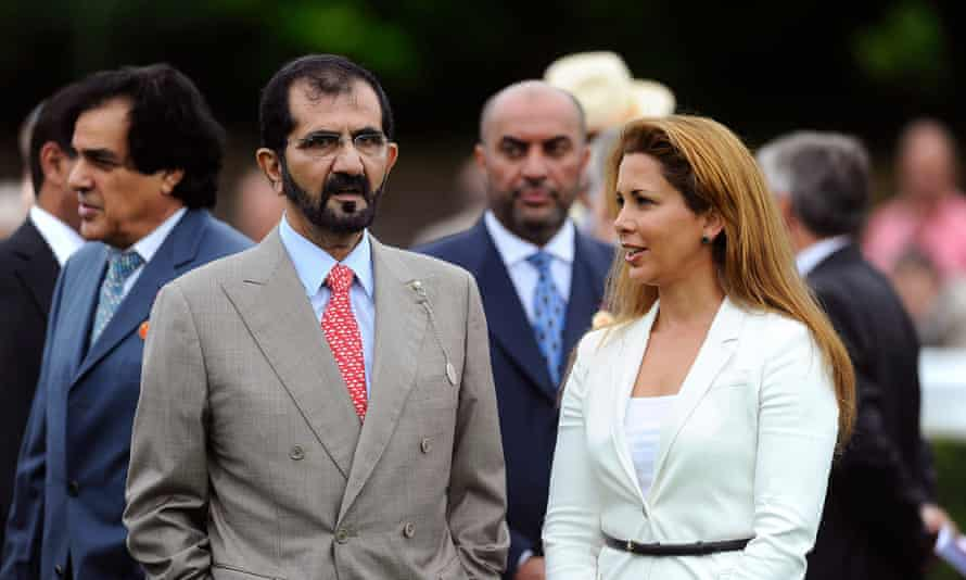 Sheikh Mohammed bin Rashid al-Maktoum and Princess Haya bint al-Hussein at Goodwood racecourse in 2013.