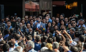 Selahattin Demirtaş addresses a demonstration on 27 October following the arrest of the two co-mayors of Diyarbakır.