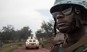 A Tanzanian soldier from the UN peacekeeping mission in Central African Republic patrols the town of Gamboula last July