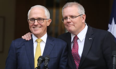 Scott Morrison pledges his loyalty to then prime minister Malcolm Turnbull at a press conference in the PM's courtyard on 22 August 2018, two days before he took the leadership.