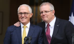 Turnbull-Cormann-Morrsion<br>The Prime minister Malcolm Turnbull and Treasurer Scott Morrison at a press conference in PM's courtyard of parliament house in Canberra this afternoon. Wednesday 22nd August 2018. Photograph by Mike Bowers. Guardian Australia