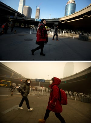 Pedestrians by an elevated highway in Beijing on 1 November, top, and 1 December 2015.