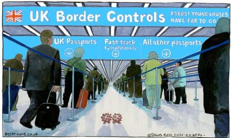Steve Bell on UK border controls to combat Covid variants - cartoon