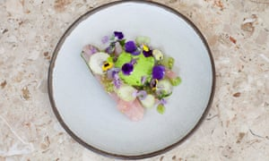 Strips of pale cured red mullet with decorative green tomatoes and green strawberries