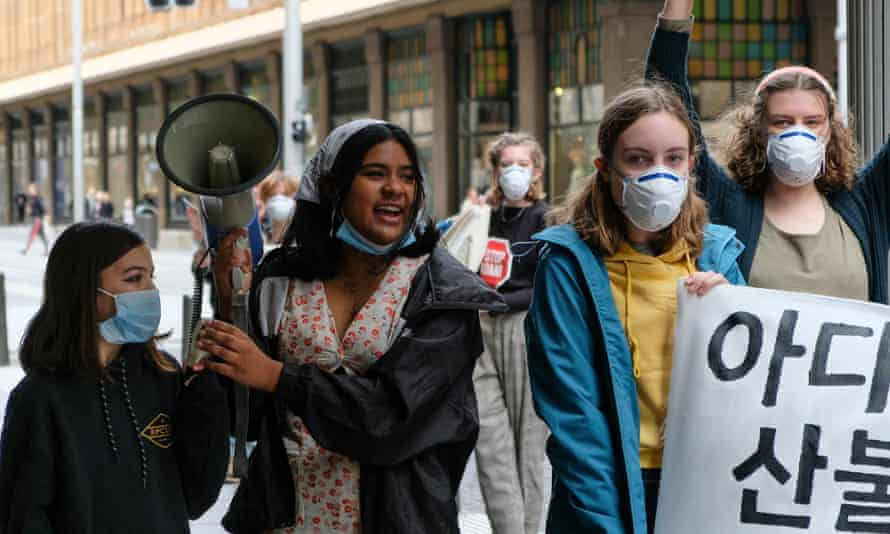 From left to right: Izzy Raj-Seppings, Natasha Abhayawickrama, Lydia Colla, Leila Mangos and Eve Moss Ractliffe (background) at a climate strike in July 2020.