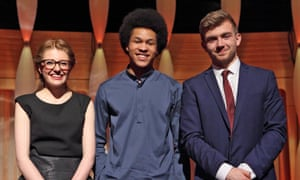 BBC Young Musician finalists saxophonist Jess Gillam, cellist Sheku Kanneh-Mason and French horn player Ben Goldscheider.