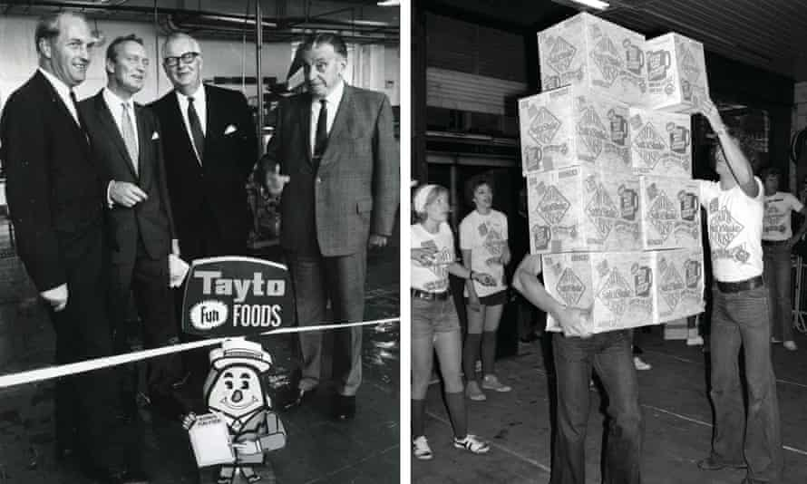 Left: Tayto's Joe 'Spud' Murphy (second left) launched the first flavoured crisps in the late 50s. Right: Boxes of Smith's plain crisps, which came with a blue sachet of salt.