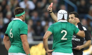 Ireland's CJ Stander, left, is sent off during their win over South Africa in Durban.