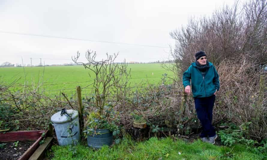 Mick Palmer, from Guston, standing in front of the planned lorry site.