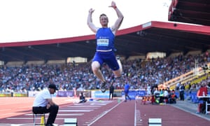 Greg Rutherford competes in the men's long jump during the 2016 IAAF Birmingham Diamond League athletics meeting this week.