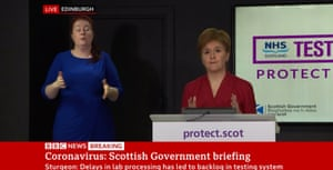 Nicola Sturgeon at her briefing today.