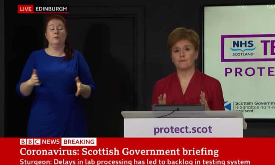 Nicola Sturgeon's briefing televised on the BBC.