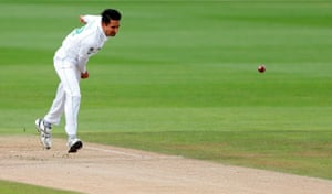 Abbas sends down a delivery.
