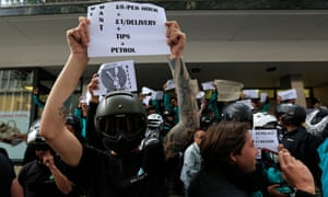 Deliveroo drivers protest