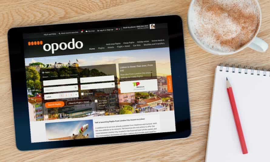 The Opodo website on an iPad tablet
