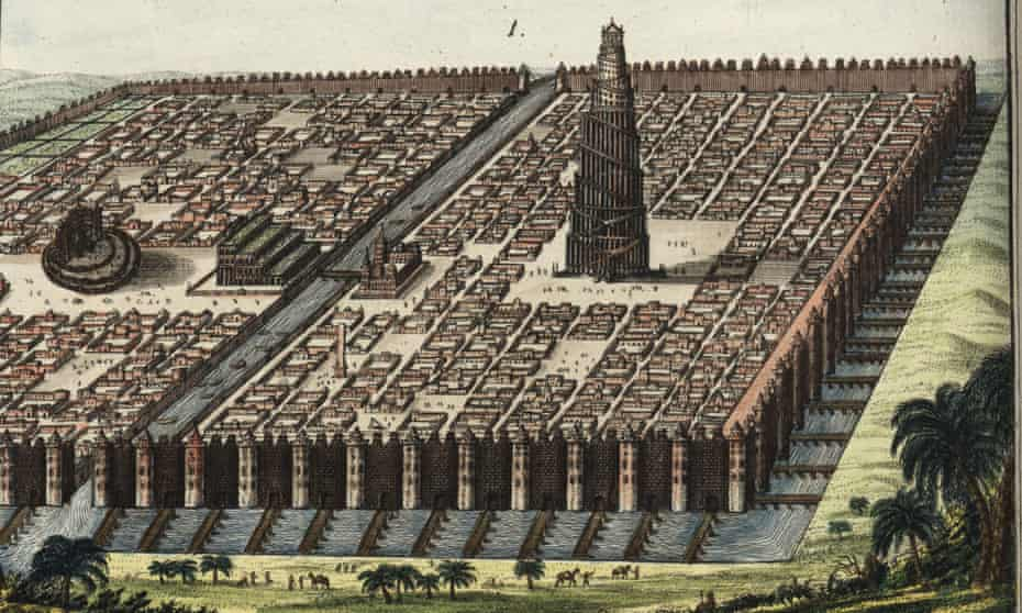 The city walls of Babylon, surrounding the Hanging Gardens and the Tower of Babel.