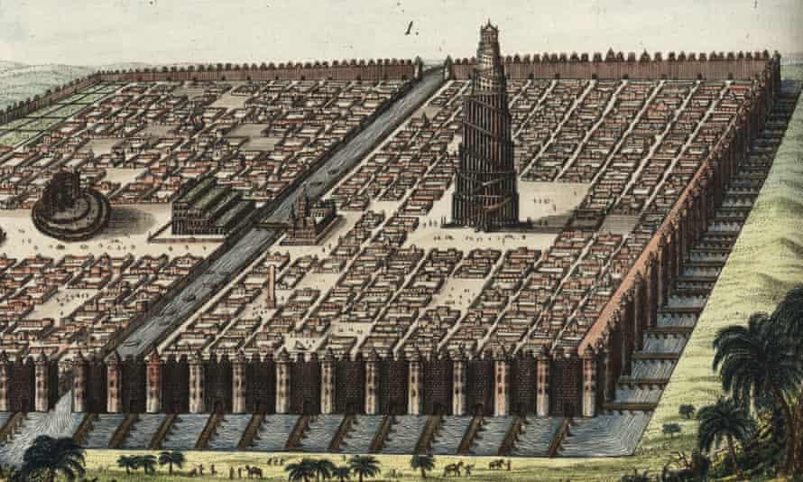 The city walls of Babylon in an engraving by Friedrich Johann Bertuch.