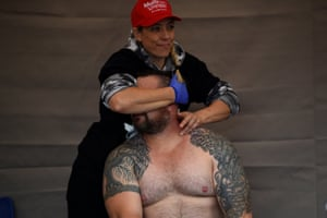 A competitor is given a massage