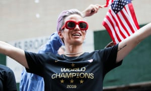 Megan Rapinoe celebrated her second World Cup victory at a parade on Wednesday