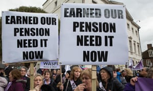 Campaigners from Women Against State Pension Inequality (Waspi) protest outside parliament.