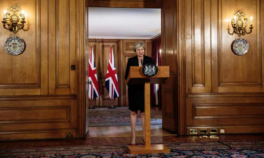 The prime minister, Theresa May, at Downing Street, London, last week, making a statement on the Brexit negotiations.