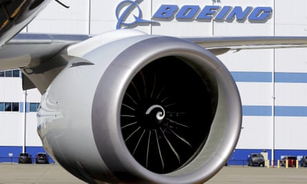 An engine and part of a wing from a 787 Dreamliner at Boeing of South Carolina's North Charleston facility.