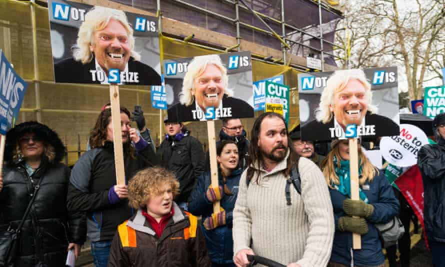 The NHS in Crisis march in London in February highlighted Virgin's expansion into the healthcare sector.