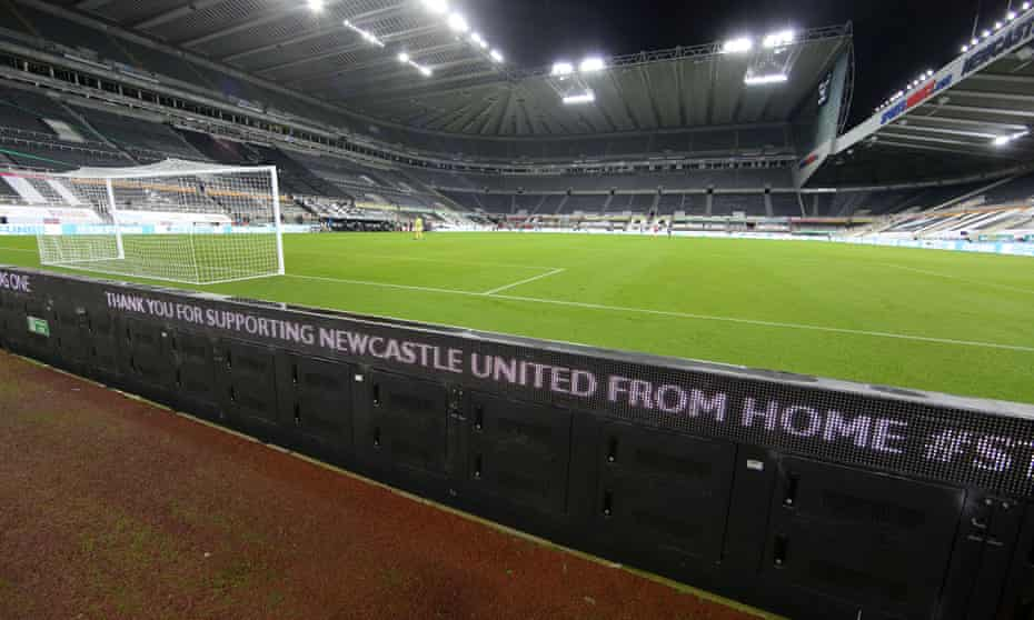 An electronic board at St James' Park thanks Newcastle fans for supporting the team from home.