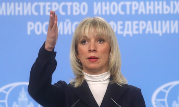 Russia's foreign ministry spokesperson Maria Zakharova addresses the media on Friday.