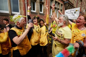 Anti-fracking campaigners celebrating outside county hall in Preston June 2015