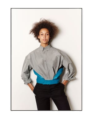 Wallette wears a Balenciaga shirt, £2,250, and trousers, £625