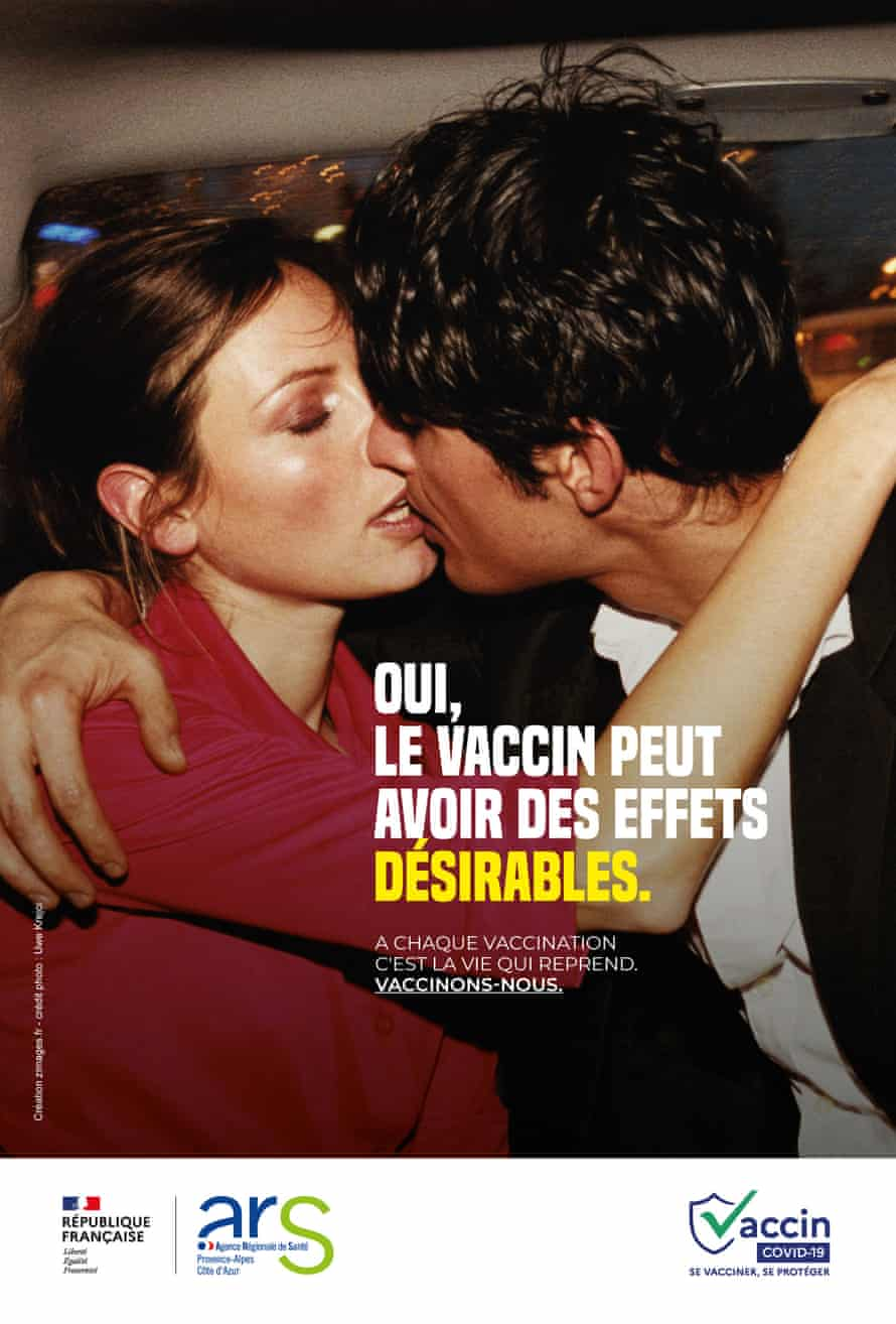 A couple kissing in the back of a vehicle on  French health authority poster.