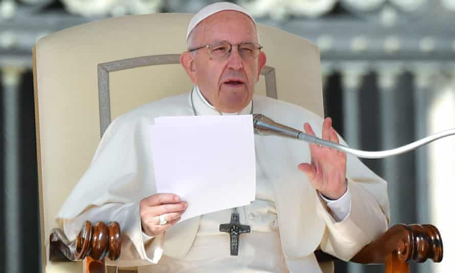 Pope Francis speaks during the weekly general audience at St Peter's Square