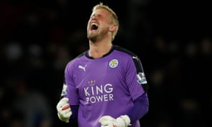 Kasper Schmeichel's father Peter won five Premier League titles with Manchester United, where his son can win his first on Sunday.