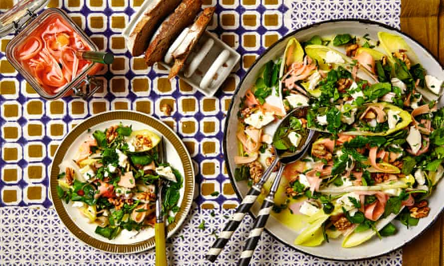 Photograph of Thomasina Miers' sSalad of watercress, goat's cheese, rhubarb pickle and toasted walnuts