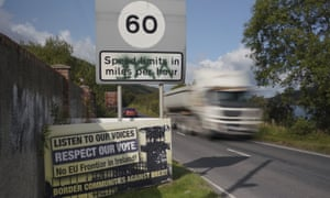 A roadside sign protesting against the reestablishment of a hard border between Northern Ireland and the Republic of Ireland.