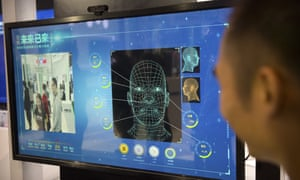 A facial recognition display at a booth for Ping'an Technology at the Global Mobile Internet Conference in Beijing last month.