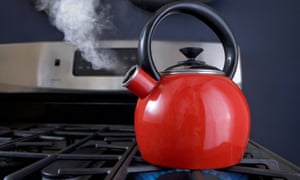 Red teapot on the boil