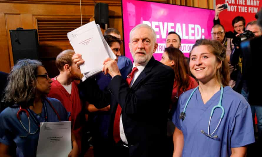 Labour party leader Jeremy Corbyn poses with NHS workers holding documents regarding the Conservative government's UK-US trade talks