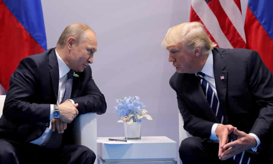 Vladimir Putin talks to Donald Trump during their bilateral meeting at the G20 summit in Hamburg, Germany, on 7 July 2017.
